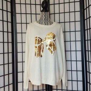 NWOT ASOS off white knit sweater with gold bow